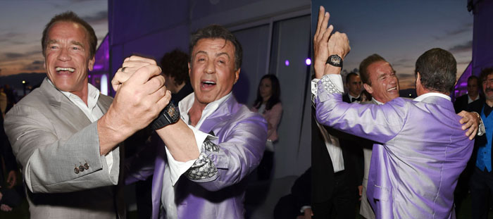 Arnold Schwarzenegger dancing with Sylvester Stallone in Cannes Film Festival at the premiere party for the action movie The Expendables 3, 2014.