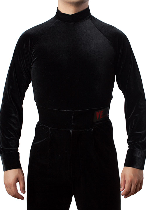Black shirt for ballroom dancing with turtle neck