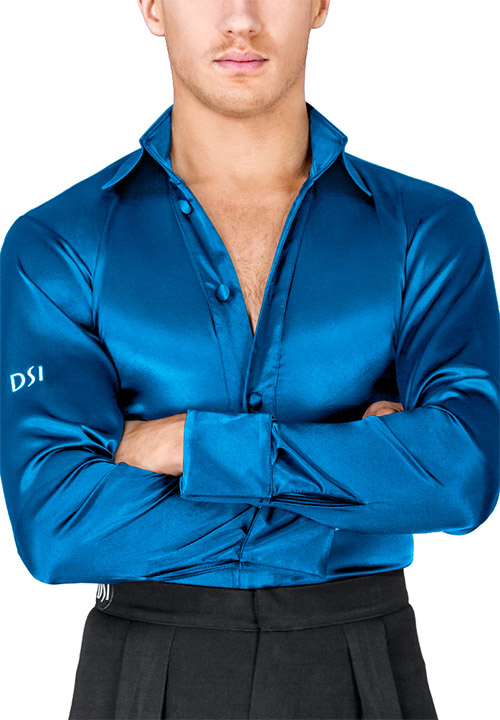Blue latin shirt for ballroom dancing