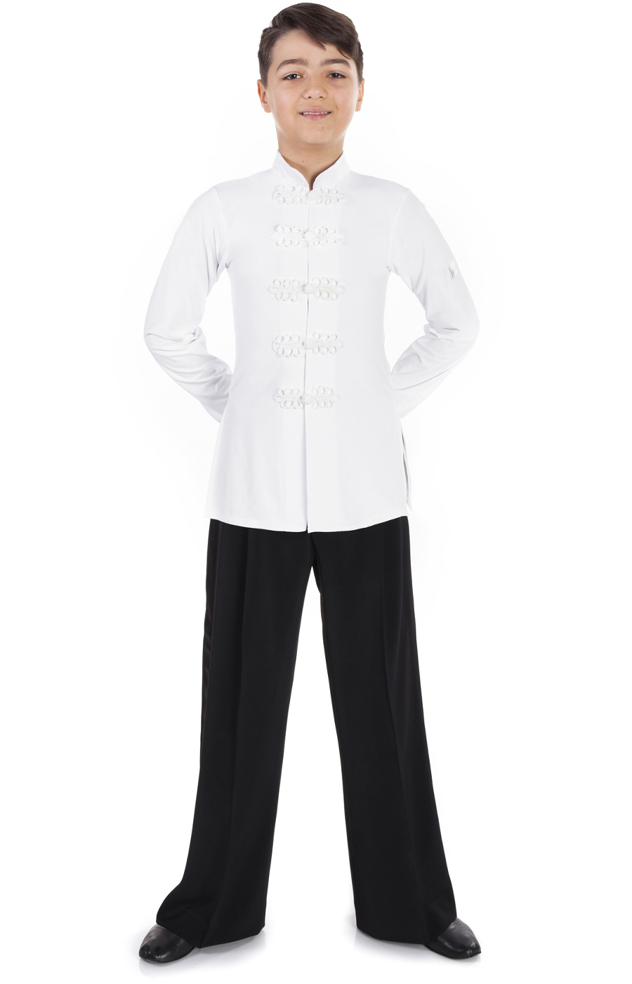 White Long Latin Shirt Boys
