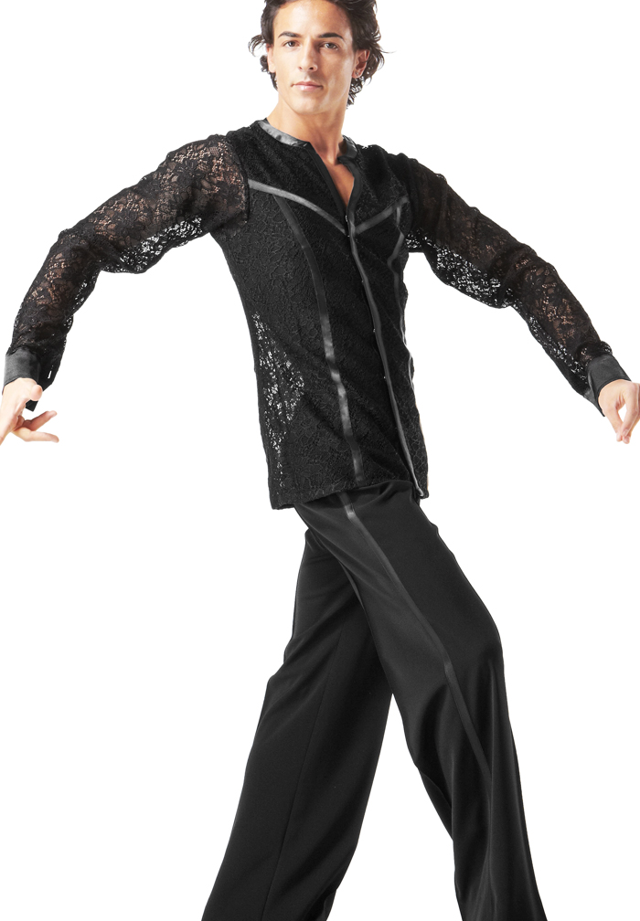 Taka Mens Black Latin Dance Shirt Ballroom Dance
