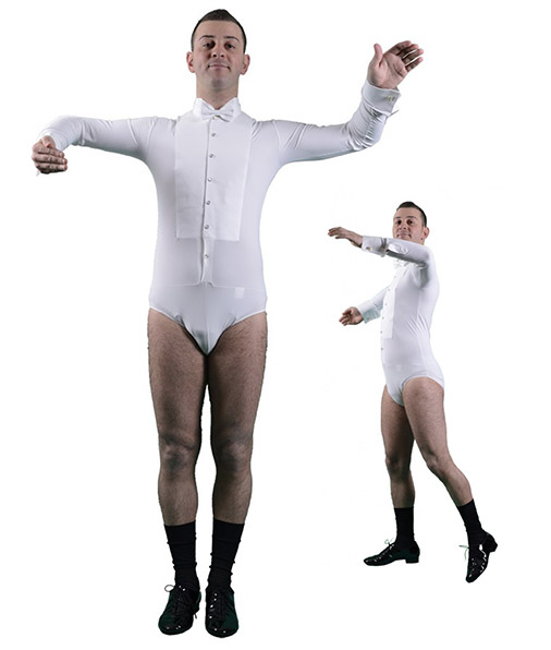 Men pure white shirt leotard for tailcoat ballroom dancing