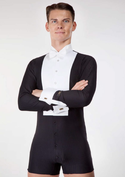 Men white and black shirt leotard for tailcoat ballroom dancing