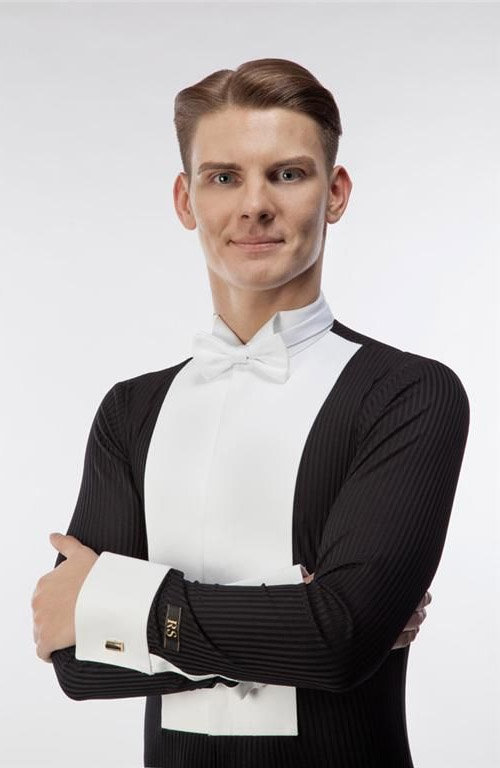 Men white and black shirt for tailcoat ballroom dancing