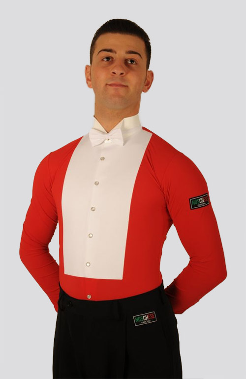 Men white and red shirt for tailcoat ballroom dancing