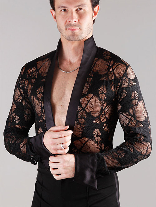 Semi transparent men latin shirt