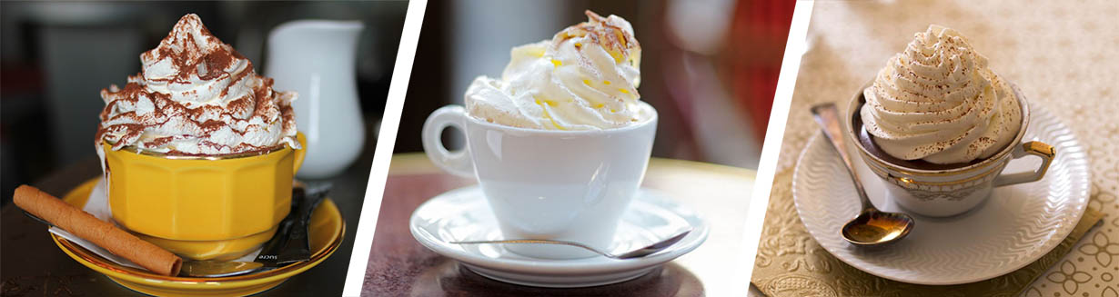 Austrian Viennese Milk Chocolate drinks with whipped cream